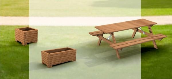 drewniane wyposażenie ogrodu