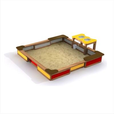 piaskownica integracyjna, ze stolikiem do zabawy piaskiem