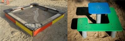 wkład do piaskownicy i stolik do piaskownicy